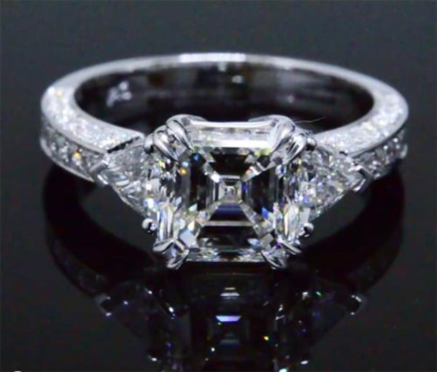4.10 Asscher Cut w Trillions Diamond Engagement Ring F Color VS1 GIA Certified