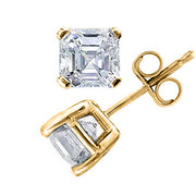 1.50 Ct. Asscher Cut Diamond Stud Earrings H Color VS1 Clarity