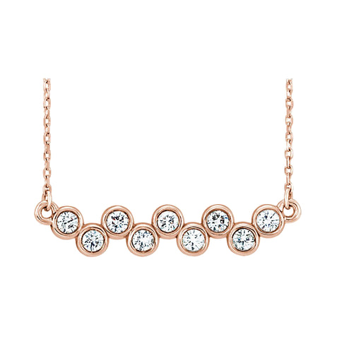 rose gold bezel diamond bar necklace