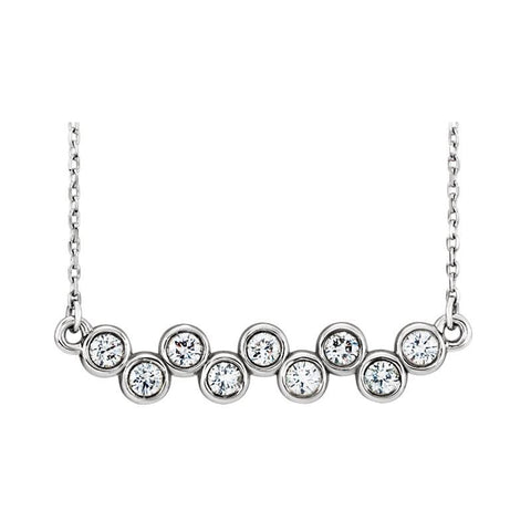 LEDODI Bezel Diamond Up Down Bar Necklace