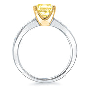 1.45 Ct. Canary Fancy Yellow Cushion Cut Solitaire Diamond Ring VS2 GIA Certified