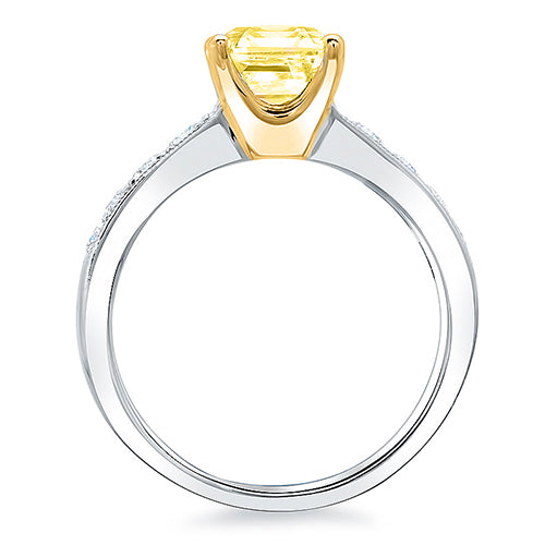 3.26 Ct. Canary Fancy Intense Yellow Cushion Cut Diamond Ring w Accents VS1 GIA Certified