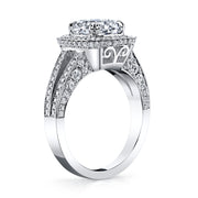 2.60 Ct. Halo Cushion Cut Split Shank Diamond Engagement Ring F Color VS2 GIA Certified