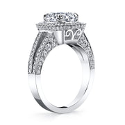 Halo Cushion Cut Split Shank Diamond Engagement Ring