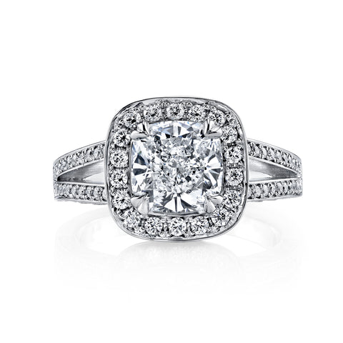 3.10 Ct. Halo Cushion Cut Split Shank Diamond Engagement Ring F Color VS1 GIA Certified