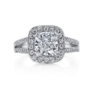 5.10 Ct. Halo Split Shank Cushion Cut Diamond Ring J Color VS2 GIA Certified