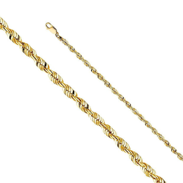 14K Yellow Gold Solid Rope Chain 4mm