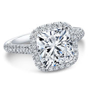 Top Side Halo Cushion Cut Diamond Engagement Ring