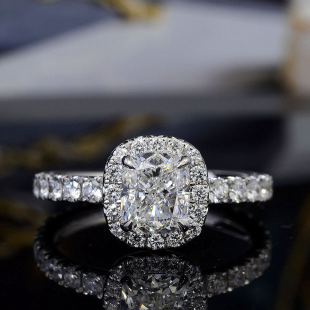 2.20 Ct. Halo Cushion Cut Diamond Engagement Ring Set GIA F Color VS1 GIA Certified