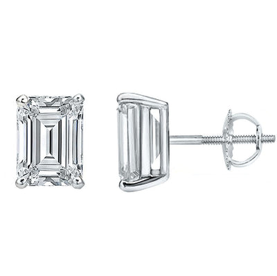 3.00 Ct. Emerald Cut Diamond Stud Earrings screw back