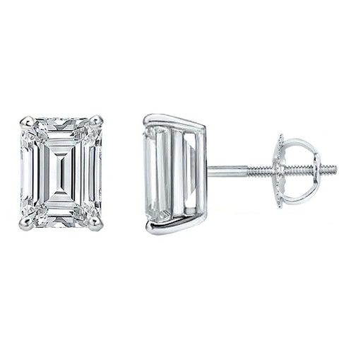 3.00 Ct. Emerald Cut Diamond Stud Earrings H Color Vs2 Clarity GIA Certified