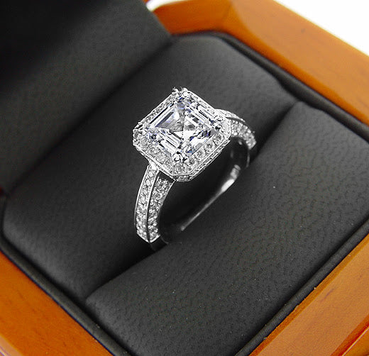2.20 Ct. Asscher & Round Cut Diamond Engagement Ring F Color VS2 GIA Certified