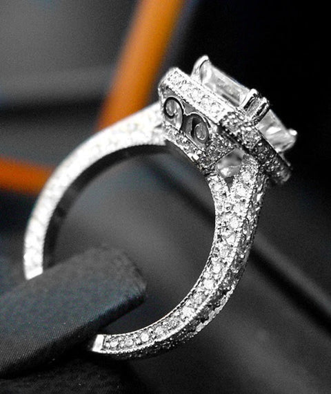 2.70 Ct. Pave Halo Cushion Cut Diamond Engagement Ring G Color VS2 GIA Certified