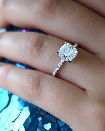 1.80 Ct. Cushion Cut Solitaire Diamond  Engagement Ring w Accents I Color VVS1 GIA Certified