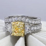 4.10 Ct. Canary Fancy Yellow Cushion Cut Diamond Ring VS1 GIA Certified