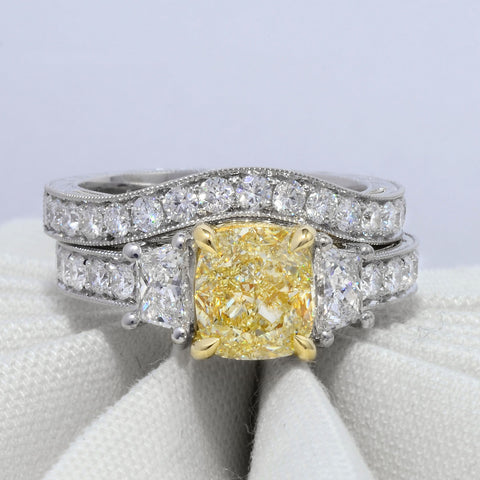 2.40 Ct. Canary Fancy Yellow Cushion Cut Hand-Carved Diamond Ring VS2 GIA Certified