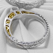 2.60 Ct. Canary Fancy Yellow Radiant Cut Hand-Carved Diamond Ring VS1 GIA Certified