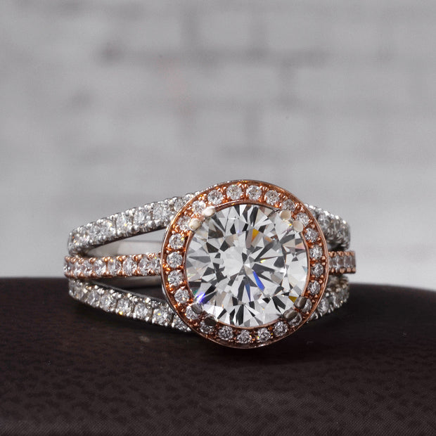 3.10 Ct. Riviera  Diamond Engagement Ring w Pink Sapphire J Color VS1 GIA Certified