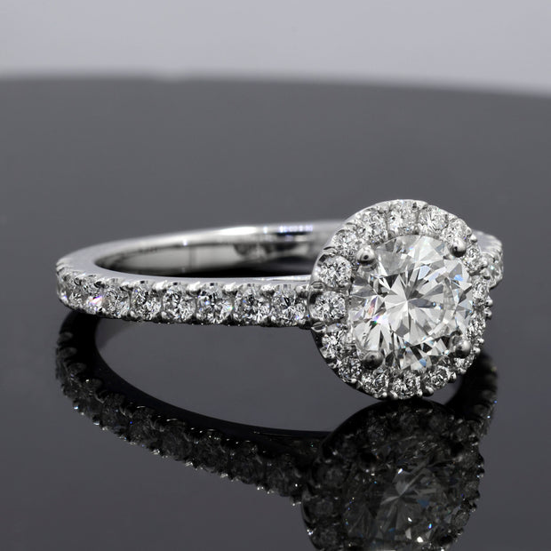 1.90 Ct. Halo Round Cut U-Setting Diamond Engagement Ring G Color VS2 GIA Certified