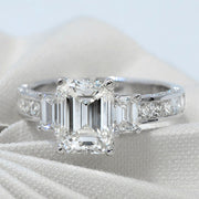 2.80 Ct. Emerald Cut 3 Stone Diamond Ring w Princess Shank H Color VS2 GIA Certified