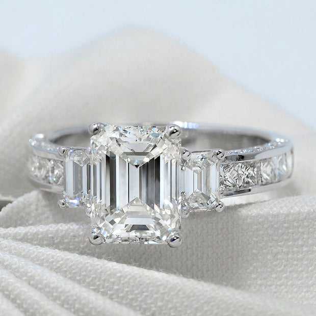 3.10 Ct. Royal Emerald Princess n Baguette Diamond Ring J Color VS1 GIA Certified