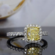 2.10 Ct. Halo Canary Fancy Yellow Cushion Cut Diamond Ring SI1 Clarity GIA Certified