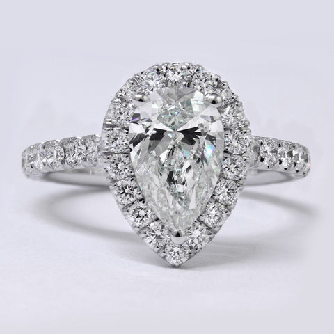 1.40 Ct. Pear Cut Halo Diamond Engagement Ring G Color VS1 GIA Certified