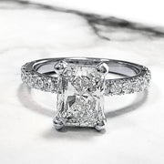 2.50 Ct. Radiant Cut Diamond Engagement Ring Set w Accents H Color VS1 GIA Certified