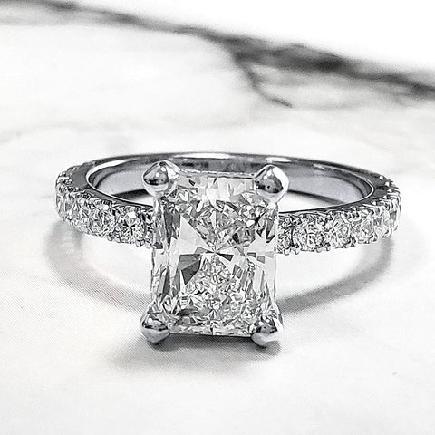 1.90 Ct. Radiant Cut Diamond Engagement Ring Set w Accents I Color VS2 GIA Certified