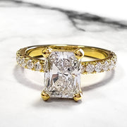 2.20 Ct. Radiant Cut Diamond Engagement Ring Set w Accents G Color VS1 GIA Certified