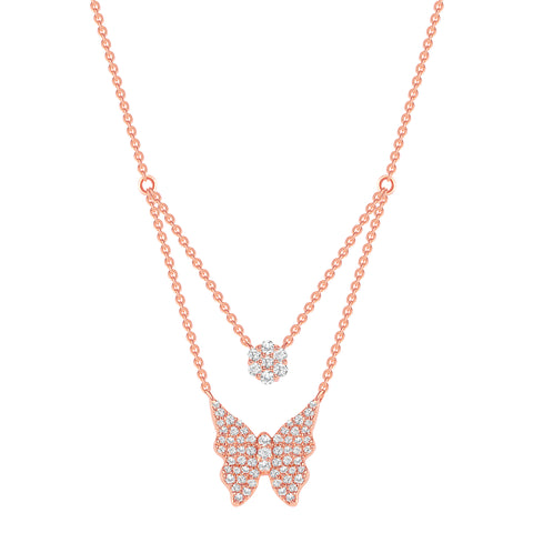Double Chain Butterfly Diamond Necklace