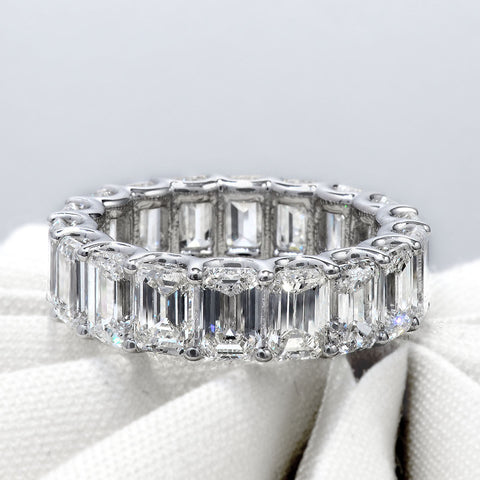 8.00 Ct. U-Setting Emerald Cut Diamond Eternity Ring F-G Color VS1 Clarity