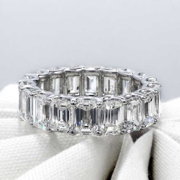U-Setting Emerald Cut Diamond Eternity Ring