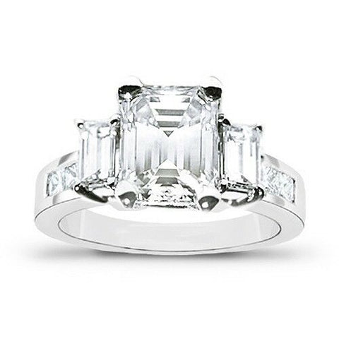 3.10 Ct. Emerald Cut w Baguettes Diamond Engagement Ring G Color VS1 GIA Certified