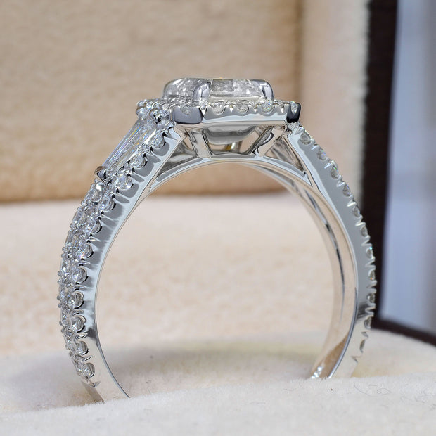 2.20 Ct. Halo Emerald Cut Diamond Ring w Baguettes I Color VS1 GIA Certified