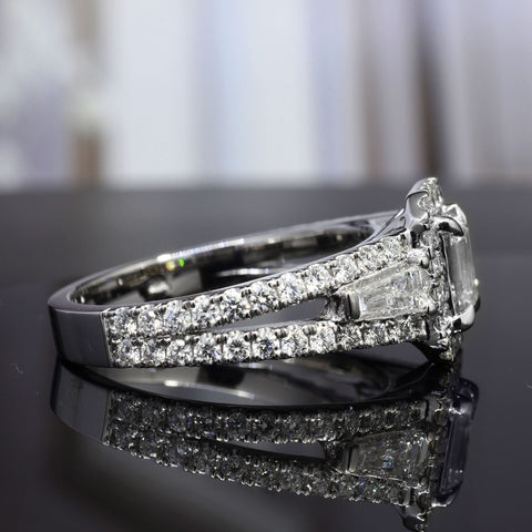 3.10 Ct. Halo Emerald Cut Diamond Ring w Baguettes G Color VS2 GIA Certified