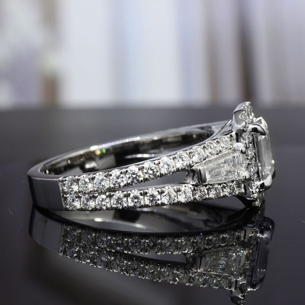 2.50 Ct. Halo Emerald Cut Diamond Ring w Baguettes G Color VS1 GIA Certified