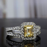 2.10 Ct. Canary Yellow Halo Emerald Cut Diamond Ring w Side Baguettes