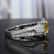 2.10 Ct. Canary Yellow Halo Emerald Cut Diamond Ring with Side Baguettes VS1