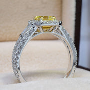 3.20 Ct. Canary Fancy Light Yellow Emerald Cut Diamond Ring w Baguettes VS2 GIA Certified