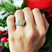 3.80 Ct. Canary Fancy Yellow Emerald Cut Diamond Ring w Baguettes VS2 GIA Certified