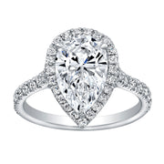 1.60 Ct. Halo Pear Cut Diamond Engagement Ring H Color VS1 GIA Certified