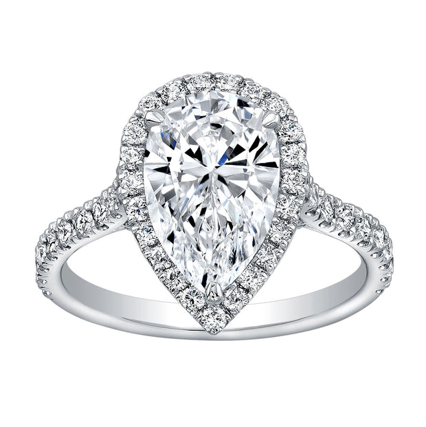 1.60 Ct. Halo Pear Cut Diamond Engagement Ring H VS1 GIA Certified