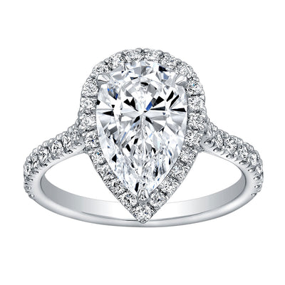2.20 Ct. Halo Pear Cut Diamond Engagement Ring I VS1 GIA Certified