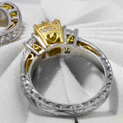 3.90 Ct. Canary Fancy Light Yellow Cushion Cut Diamond Engagement Ring VS1 GIA Certified