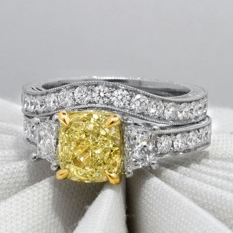 2.40 Ct. Canary Fancy Yellow Cushion Cut Diamond Ring w Trapezoids VS2 GIA Certified