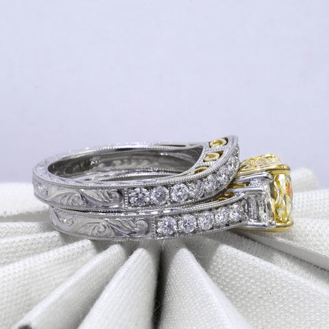 Canary Fancy Yellow Cushion Cut Diamond Engagement Ring  side view with matching band