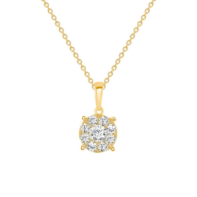 yellow gold round diamond pendant necklace