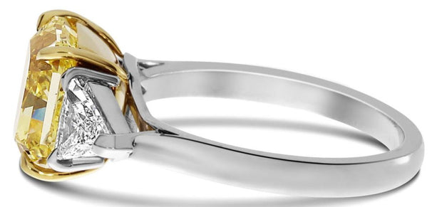 Canary Fancy Yellow Square Radiant Cut 3-Stone Diamond Ring Side View