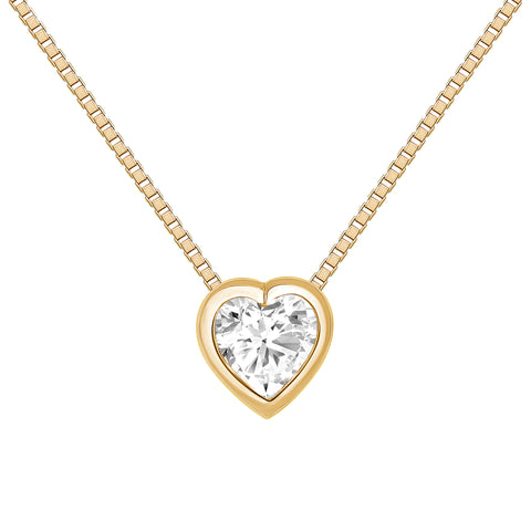 LEDODI Bezel Diamond Heart Necklace
